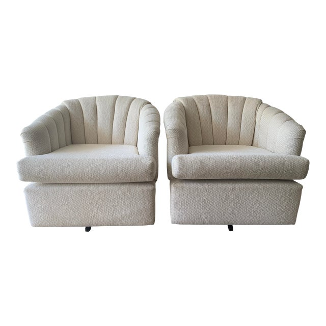 Channel Back Club Chairs in the Manner of Kagan - a Pair For Sale