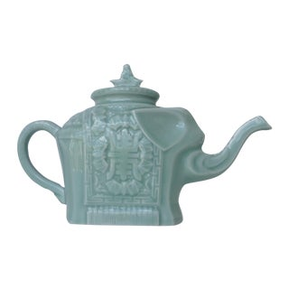 Vintage Asian Porcelain Celadon Elephant Tea Pot For Sale