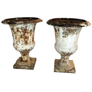 Pair of Directoire Painted Garden Urns For Sale
