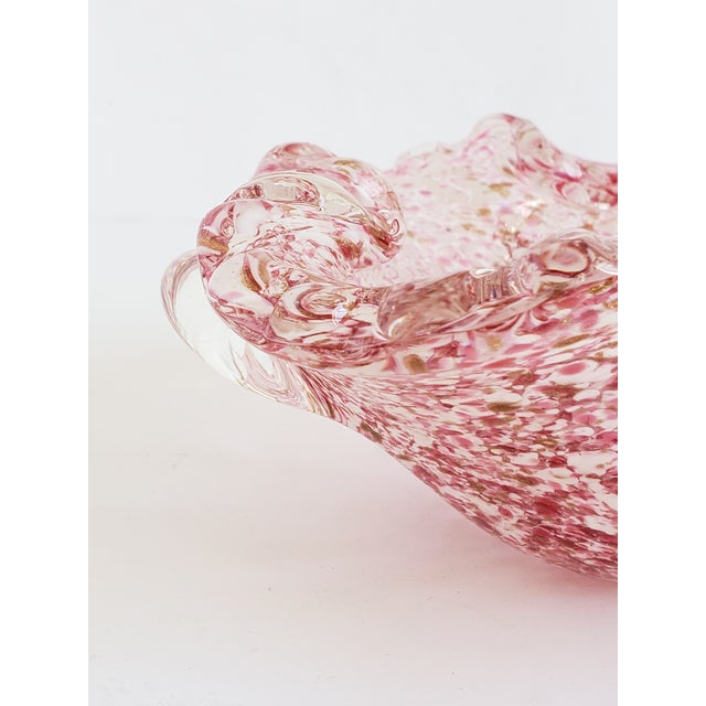 Glass Italian Murano Glass Pink and Gold Candy Dish For Sale - Image 7 of 12