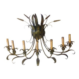 Mid 20th Century Vintage Wheat Tole Sconce For Sale