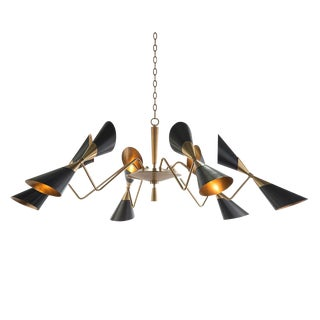 Modern Black Conical Shade Mid Century Chandelier For Sale