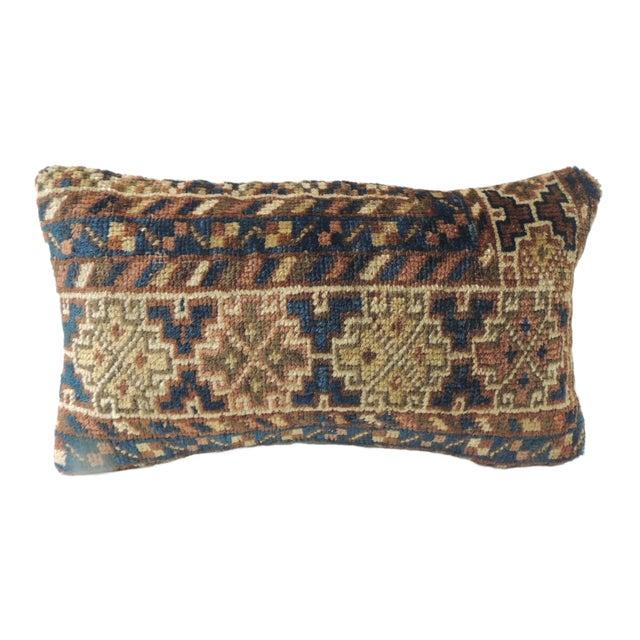 Vintage Bidjar Rug Fragment Decorative Lumbar Pillow For Sale