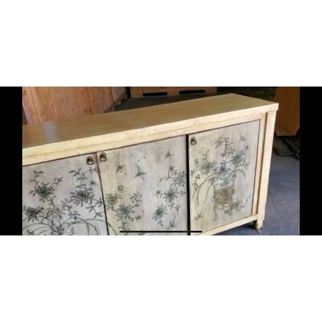 Brown 1970s Asian Style Credenza With Floral Motif Hand-Painted Door Panels For Sale - Image 8 of 11