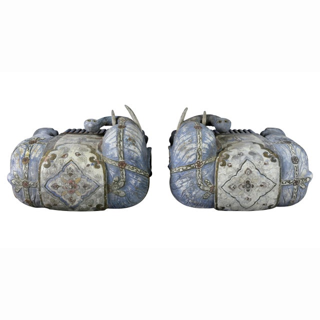 Chinese Painted Wood Elephants on Brackets - a Pair For Sale - Image 10 of 13