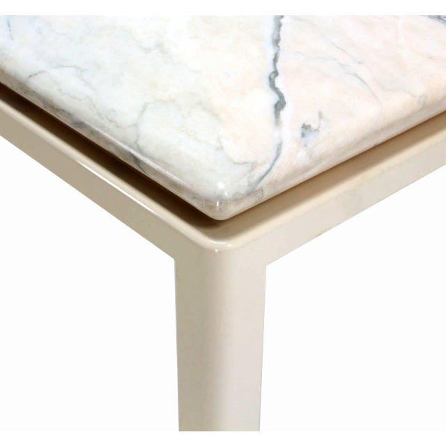 Mid 20th Century 20th Century Modern Marble-Top and Enameled Metal Base Game/Dining Table For Sale - Image 5 of 11