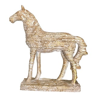 Cream With Gold Wash Standing Equestrian Horse Figure For Sale