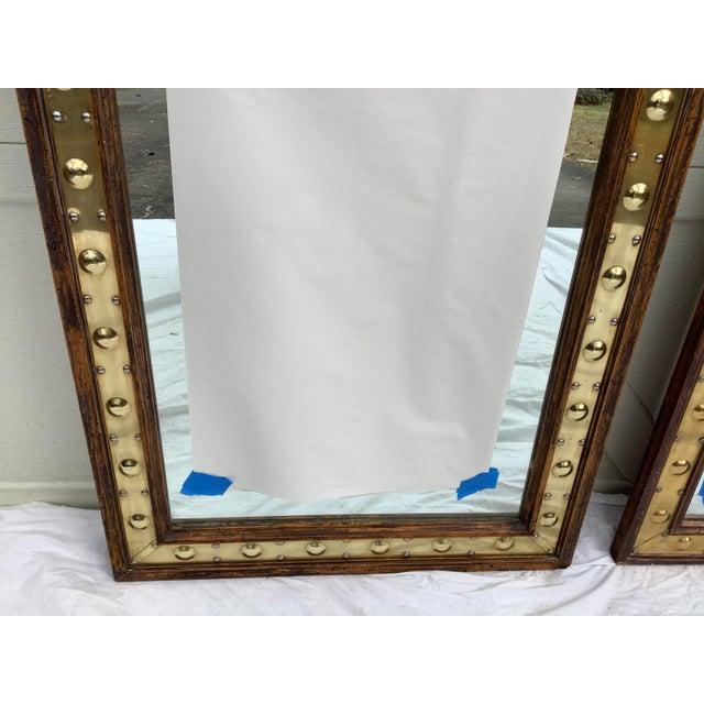 Pair of Sarreid Brass & Pine Mirrors, Italy For Sale In Atlanta - Image 6 of 11