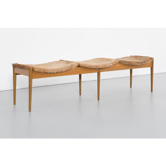 "3000 Series bench designed by Arthur Umanoff for Washington Woodcraft USA, c 1960s walnut + Brazilian cowhide 15 7/16"" h x..."