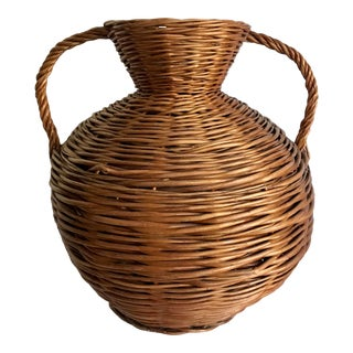 Vintage Woven Twig Rattan Handled Basket Vase For Sale