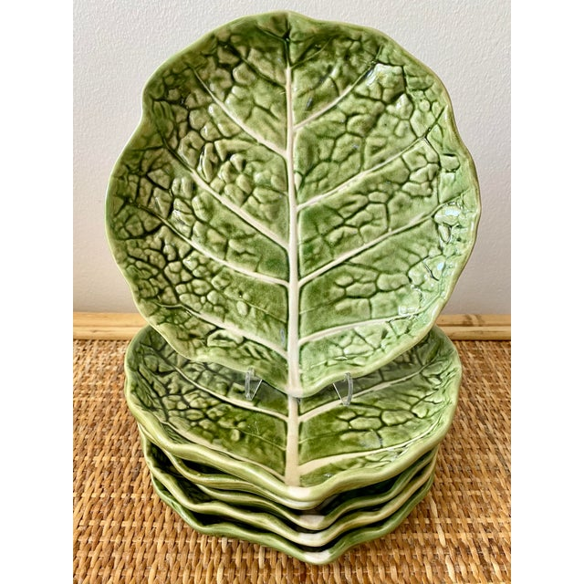 Mid 20th Century Green Cabbage Leaf Plates Portugal - Set of 6 For Sale - Image 13 of 13