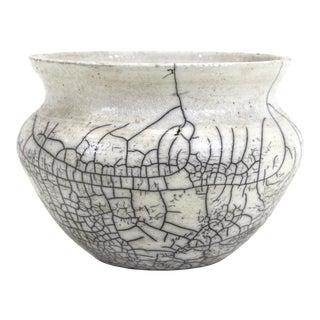 Modern Crackle Glaze Pottery Bowl For Sale