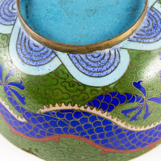 Metal 19th Century Antique Chinese Cloisonne Dragon Bowl For Sale - Image 7 of 11