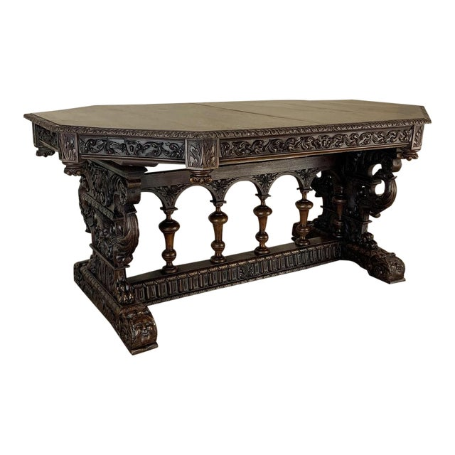19th Century French Renaissance Octagonal Library Table For Sale