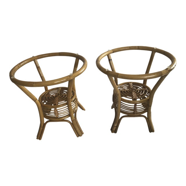 Vintage Paul Frankl Style Bentwood Bamboo Pencil Reed and Wicker Side Tables - a Pair For Sale