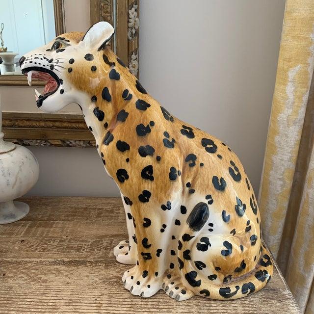 Vintage Italian 1970s Hollywood Regency Style Ceramic Leopard