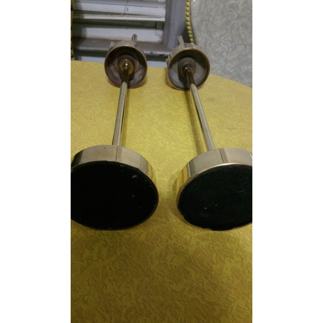 Mid-Century Modern Brass Candlestick Holders - A Pair - Image 6 of 7