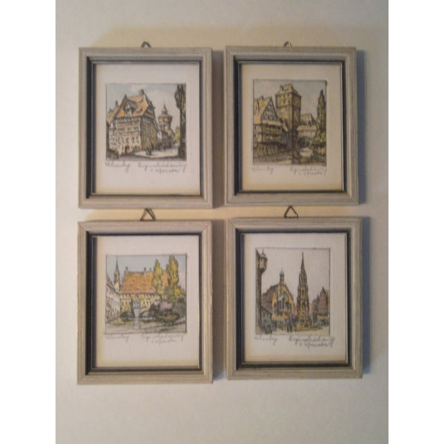 Vintage Small German Colored Etchings - Set of 4 - Image 10 of 10