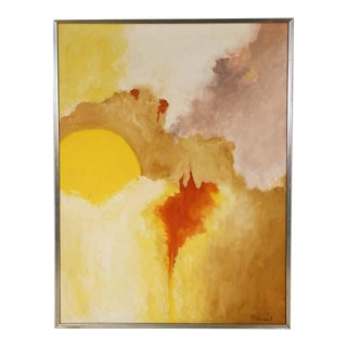 Mid Century P. Girard Original Abstract Oil Painting For Sale