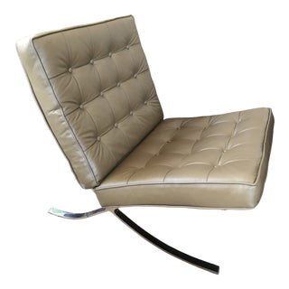 Vintage Ludwig Mies Van Der Rohe Style Mid Century Leather Chair For Sale