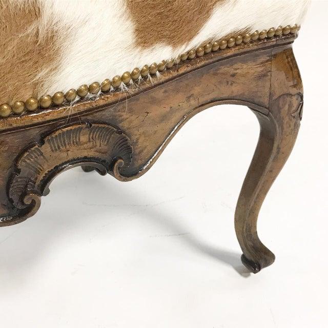 1770s Antique Italian Walnut Armchair Restored in Brazilian Cowhide - Image 10 of 10
