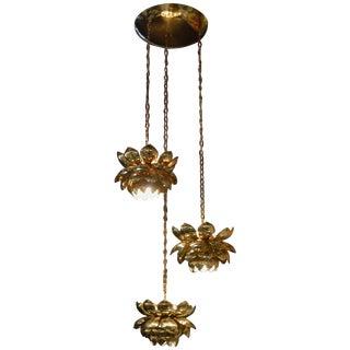 Brass Lotus Blossoms Pendant Chandelier For Sale
