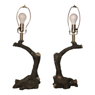 20th Century Adirondack Tree Branch Lamps - a Pair