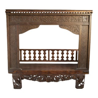 Balinese Carved Canopy Bench/Daybed