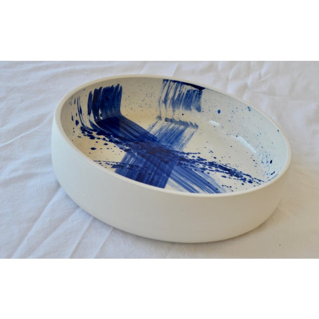 Abstract Expressionism Contemporary Ceramic Utility Bowl With Cobalt Calligraphy For Sale - Image 3 of 5