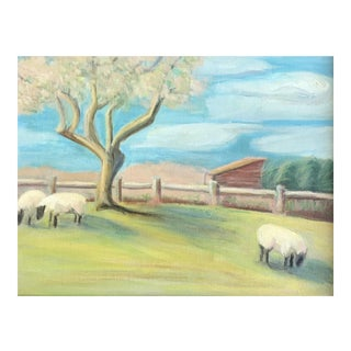"Vintage Original Painting ""Sheep in Connecticut"" For Sale"