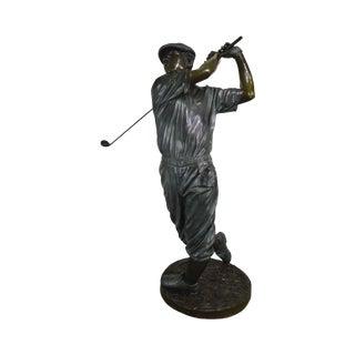 Monumental Life Size Bronze Statue of Golfer Signed Tim Davidson For Sale