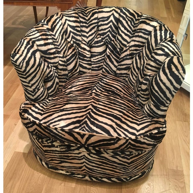 Tufted Zebra Swivel Club Chairs - Pair - Image 9 of 9