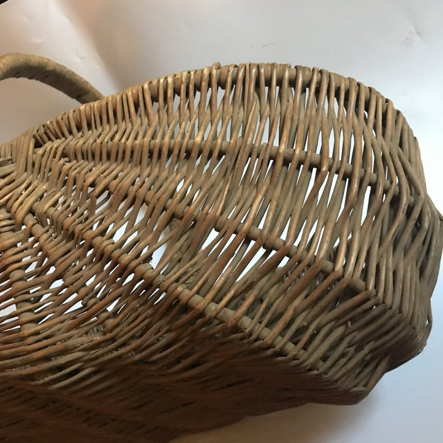 Mid 19th Century Antique Willow Reed Buttocks Basket For Sale - Image 4 of 9