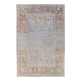 Antique Malayer Handmade Blue and Peach Floral Wool Rug For Sale