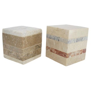 Tesselated Marble Cubes, Pair For Sale