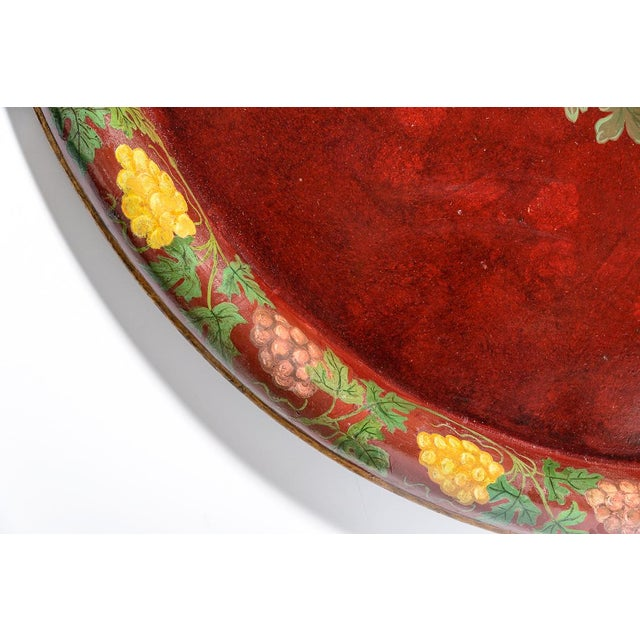 """Antique Floral Tole Tray, 48"""" Across, C.1890 French For Sale - Image 9 of 12"""