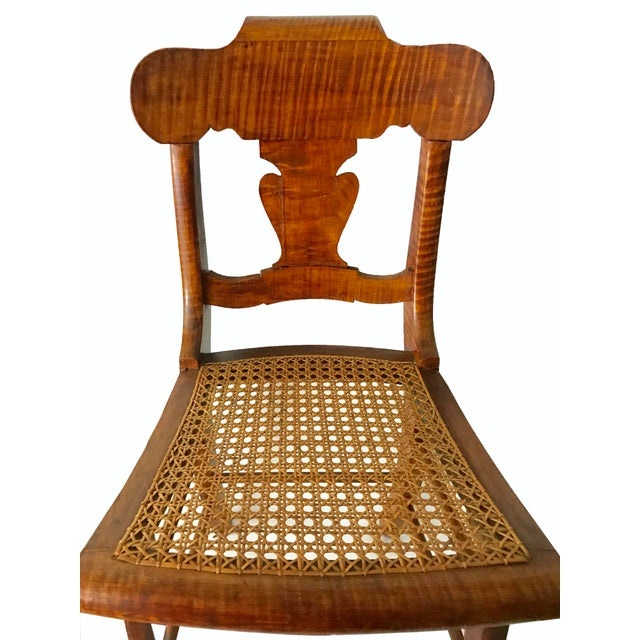 Antique early american folk art tiger maple side chair for Furniture 08081