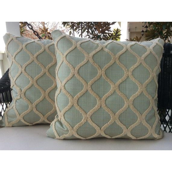 "Wonderful down-filled plush pillows covered in spa blue linen with a ""DNA"" design in intertwining chenille! So fresh---..."