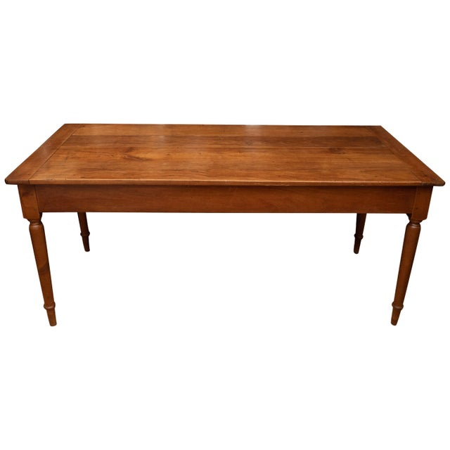 French Provincial Cherrywood Farm Table For Sale - Image 11 of 11