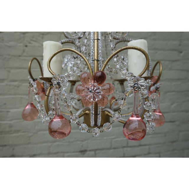 Petite Pink Drop Crystal Chandelier - Image 4 of 6