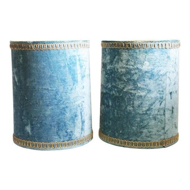 Vintage Hollywood Regency Blue Crushed Velvet Lamp Shades - A Pair - Image 1 of 10