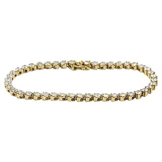14k Gold & Cz Tennis Bracelet For Sale