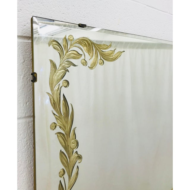 Glass Antique Art Deco Gold Foil Mirror For Sale - Image 7 of 13