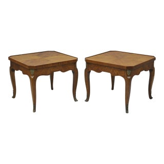 Pair of Henredon Walnut French Country Louis XV Style Low Side End Tables Vintage