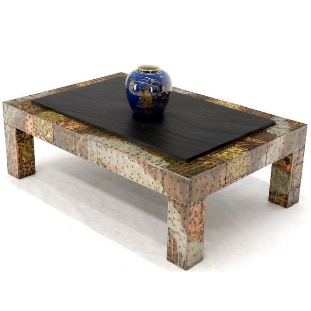 Metal Paul Evans Mid-Century Modern Rectangular Coffee Table With Slate Top For Sale - Image 7 of 12