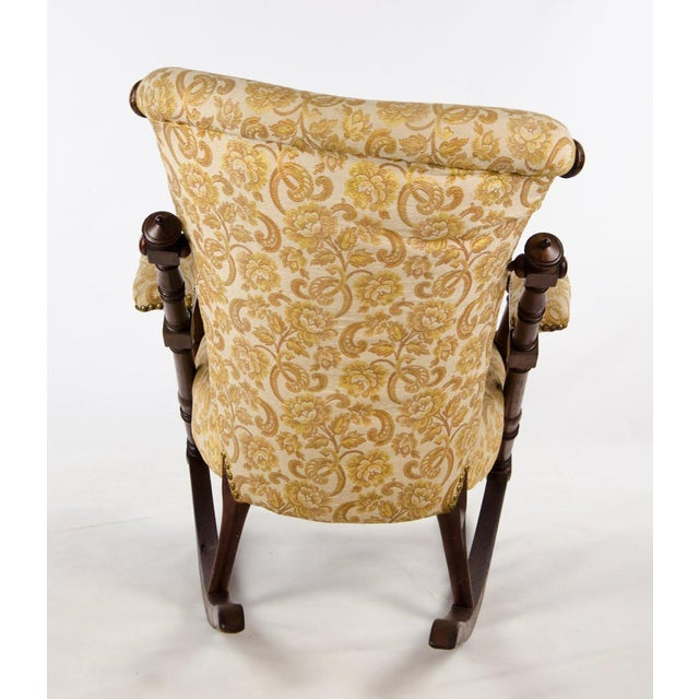 Late 19th Century Victorian Style Floral Upholstered Walnut Rocking Chair For Sale - Image 12 of 13