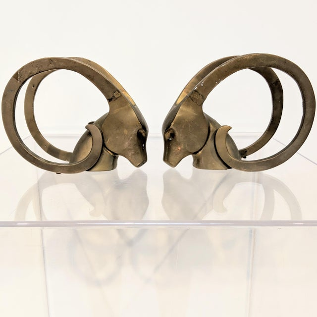 Dara International Mid-Century Modern Brass Ram Bookends - a Pair For Sale - Image 11 of 11