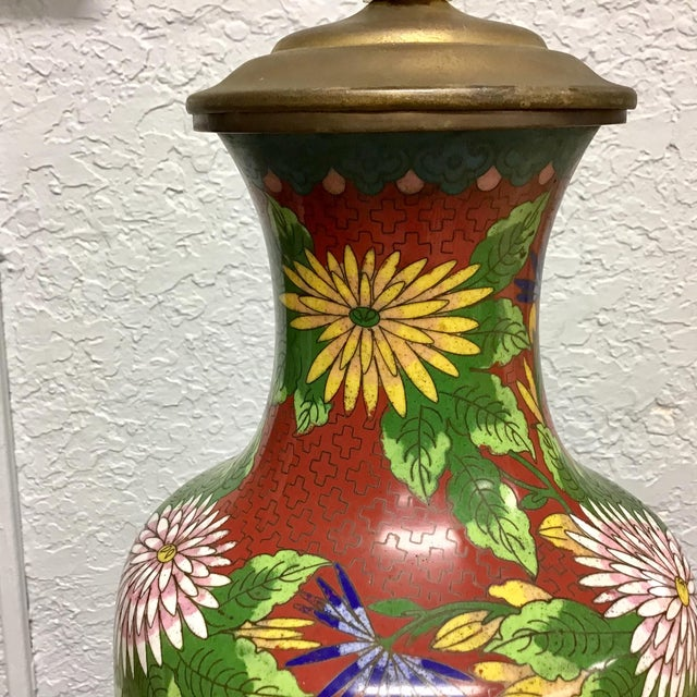 Urn Shaped Cloisonne Table Lamp For Sale In Tampa - Image 6 of 10