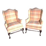 Image of Queen Anne Wingback Chairs - A Pair For Sale