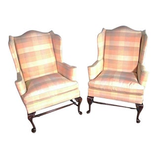 Queen Anne Wingback Chairs - A Pair For Sale